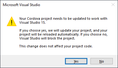 Your Cordova project needs to be updated to work with Visual Studio 15.