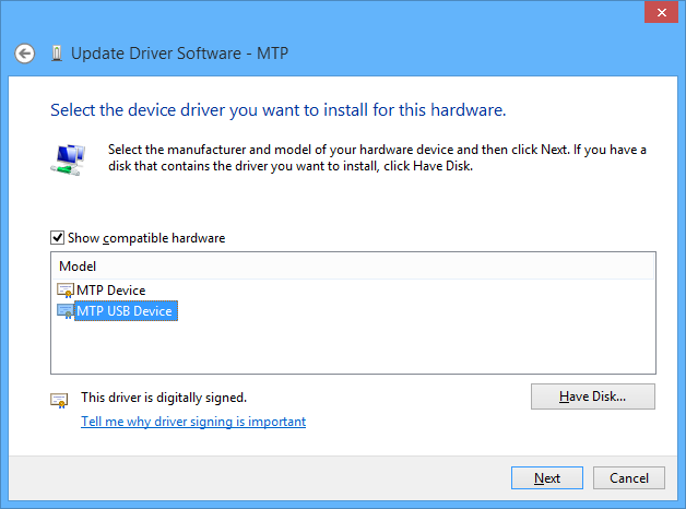 Manual driver selection dialog for MTP Device