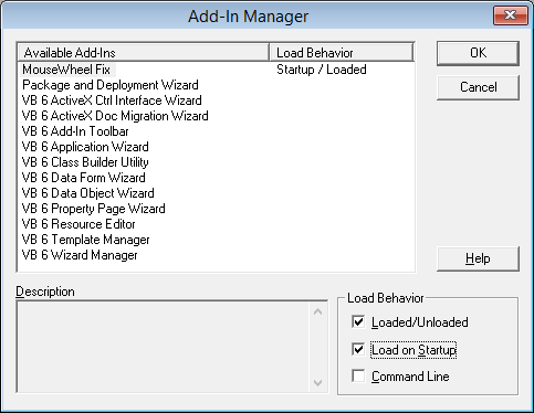 VB6 Add-In Manager