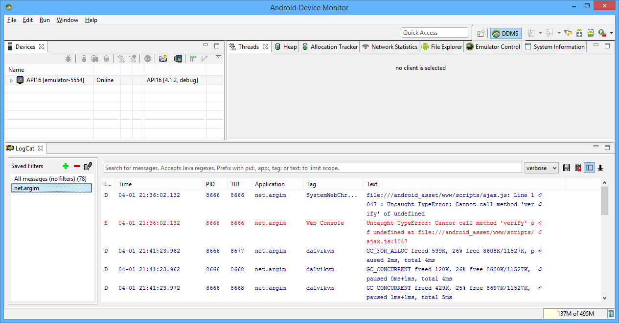 Android DDMS debugger