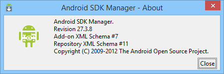 Android SDK Manager update