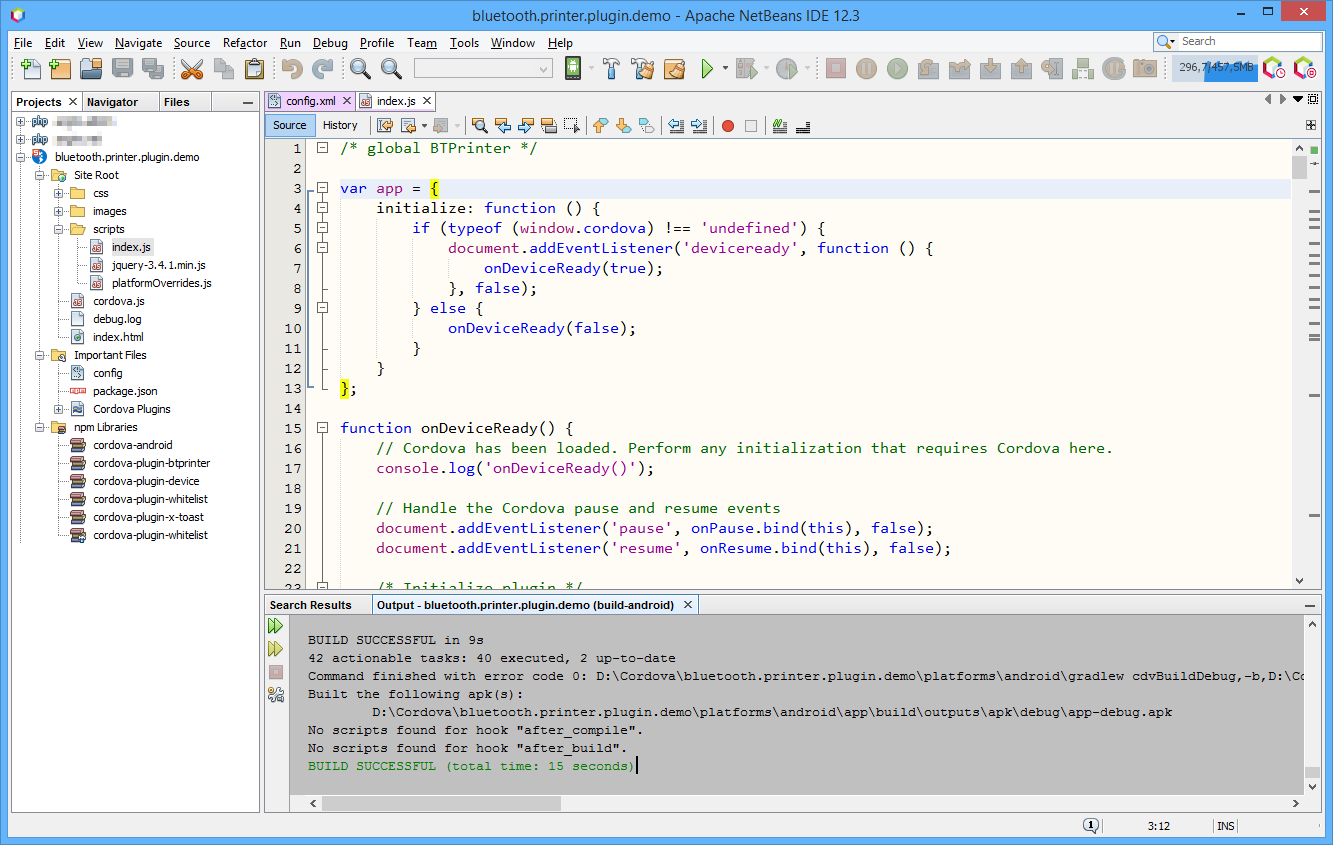Apache NetBeans IDE with Cordova project