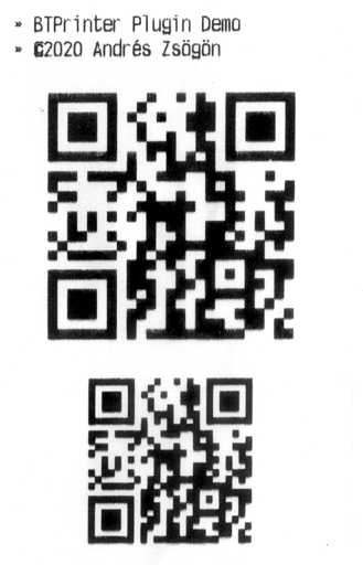 BTPrinter plugin QR code sample