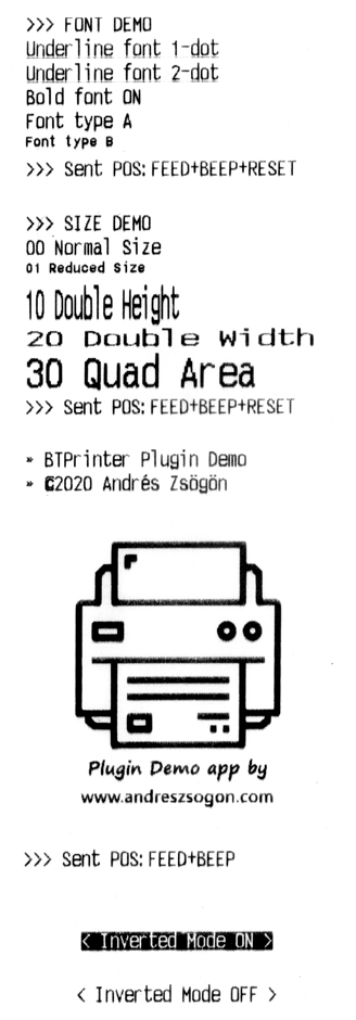 Bluetooth thermal printer cordova btplugin sample ticket