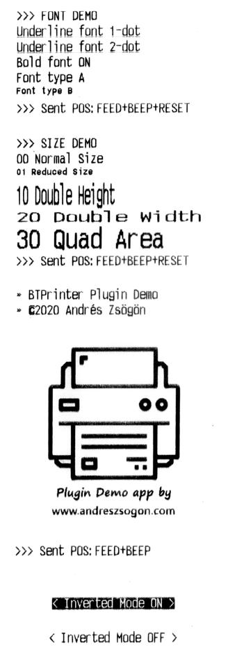 Bluetooth thermal printer cordova btplugin sample ticket