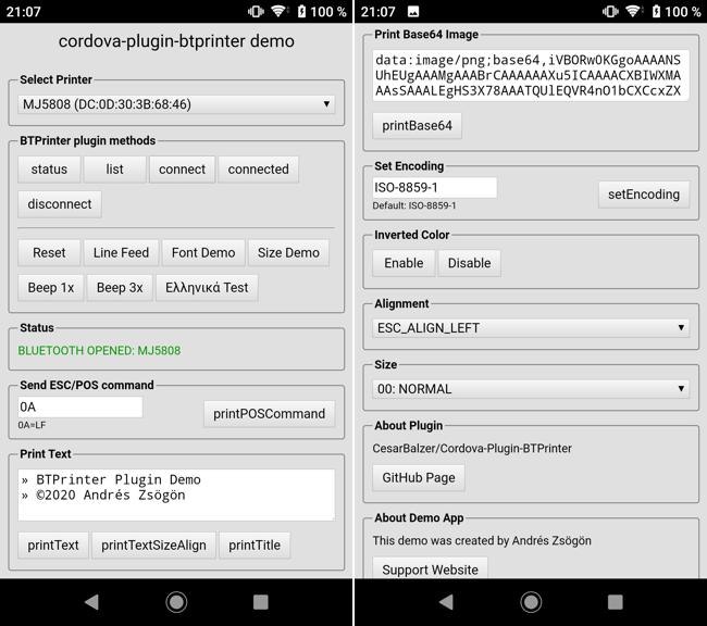 cordova plugin btprinter plugin demo