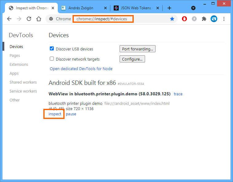 Chrome device inspector for Cordova debug