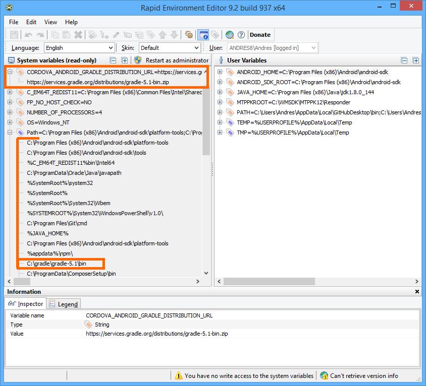 Upgrade Gradle Version in Windows for Cordova