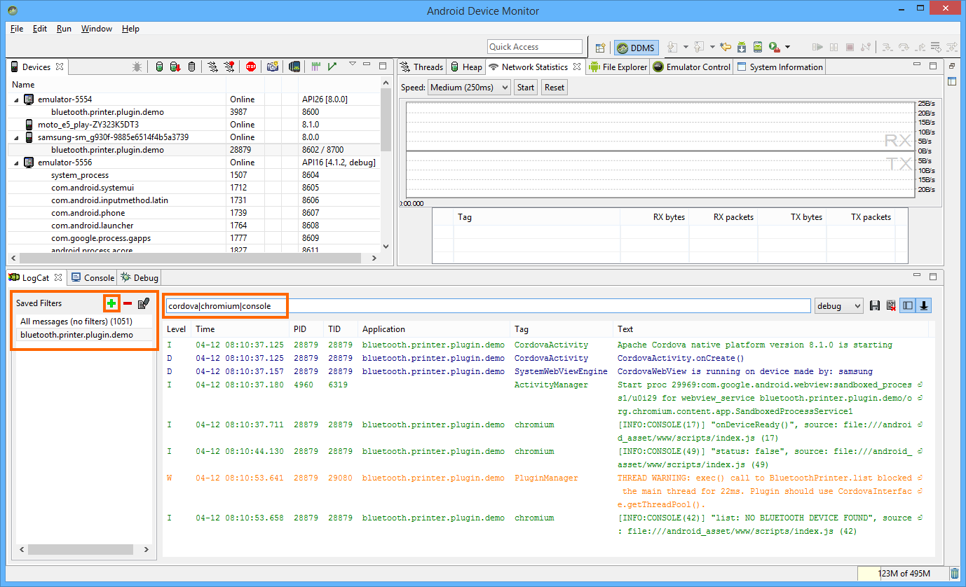 Debug Cordova app with DDMS in all Android targets