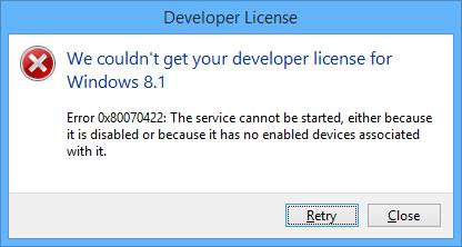 Visual Studio error 0x80070422