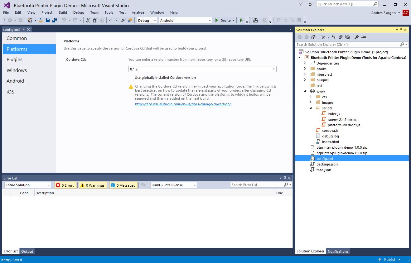 Microsoft Visual Studio 2015 with Tools for Apache Cordova