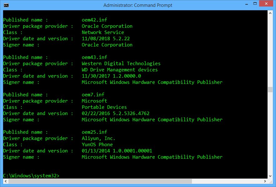 MTP Device driver uninstall with pnputil.exe