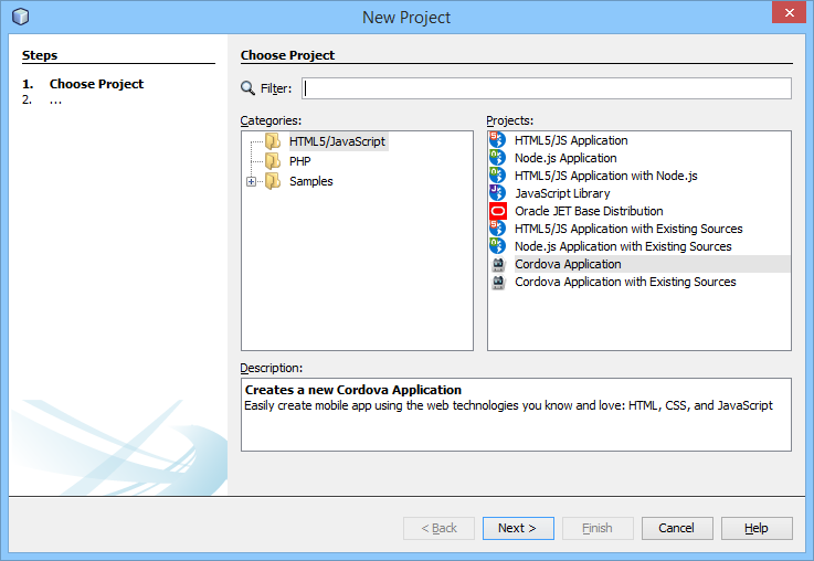 NetBeans Project Cordova Application