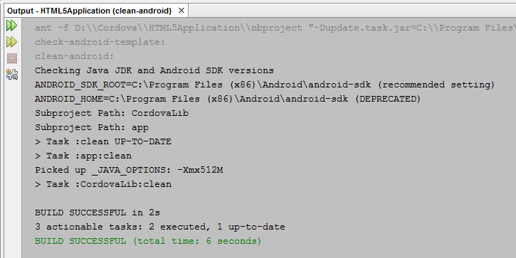 NetBeans Cordova Clean command output