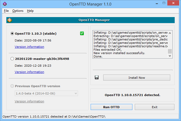 OpenTTD Manager on Windows 8.1