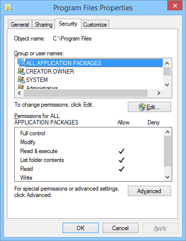 Program Files user permissions