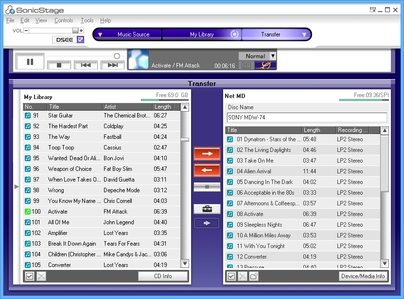 SonicStage main window with NetMD player connected