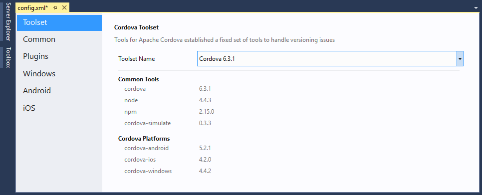 visual studio cordova toolset