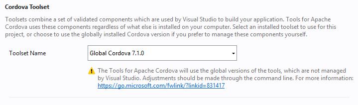 cordova 7.1.0 in visual studio 2017