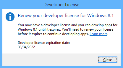 Renew Visual Studio developer license