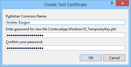 Visual Studio Create Test Certificate