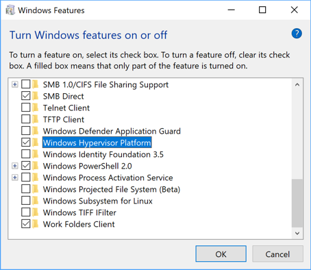 Windows Hypervisor Platform setting in Windows 10